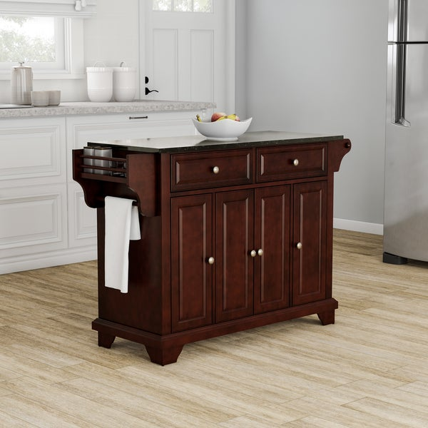 Gracewood Hollow Keeler LaFayette Granite Top Kitchen Island In Vintage  Mahogany