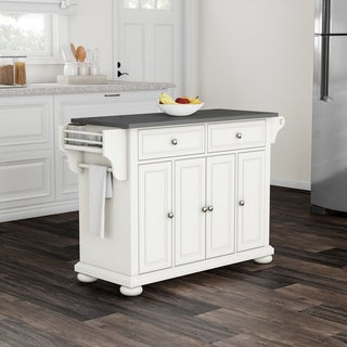 Copper Grove Filbert Stainless Steel Top Kitchen Island in White Finish - N/A