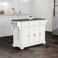 Havenside Home Milbridge Stainless Steel Top Kitchen Island in White Finish