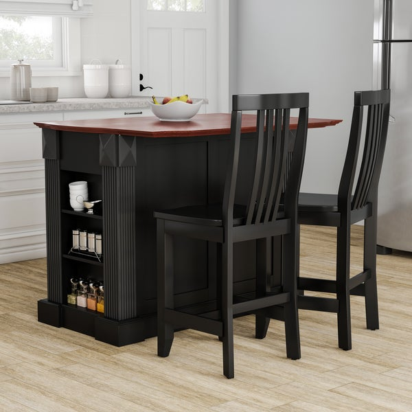 Shop Gracewood Hollow Kenny Black Drop Leaf Breakfast Bar Kitchen