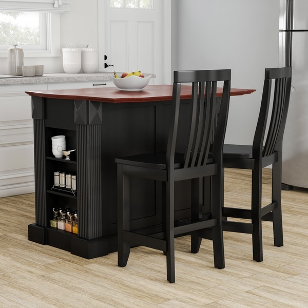 Charmant Gracewood Hollow Kenny Black Drop Leaf Breakfast Bar Kitchen Island With  24 Inch Black School