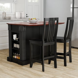 Gracewood Hollow Kenny Black Drop Leaf Breakfast Bar Kitchen Island with 24-inch Black School House Stools