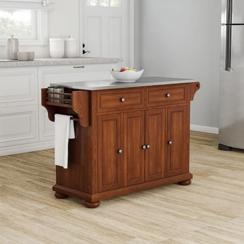 Strick & Bolton Monk Stainless Steel Top Kitchen Island in Classic Cherry Finish - N/A