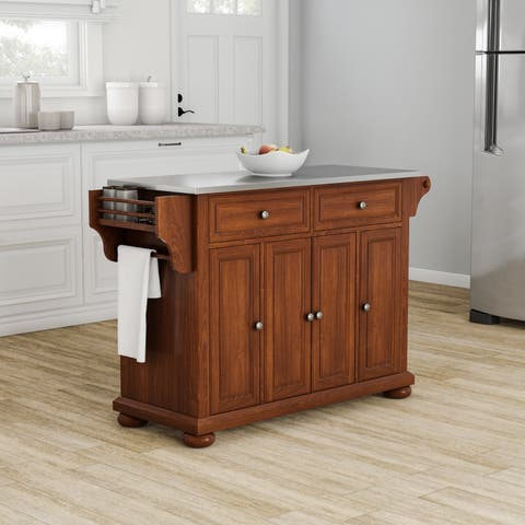 Strick & Bolton Monk Stainless Steel Top Kitchen Island in Classic Cherry Finish