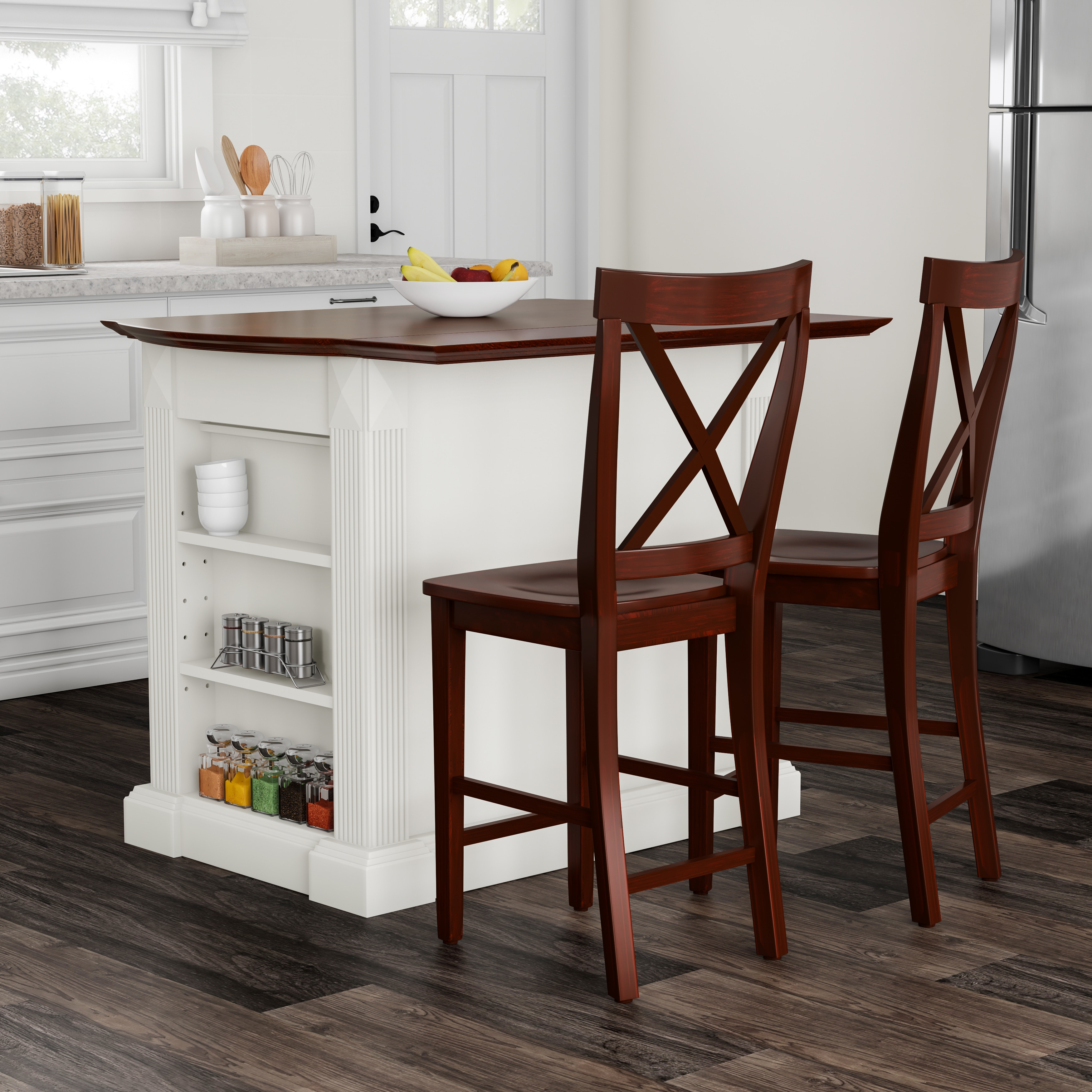 Copper Grove Sumpter Drop Leaf Breakfast Bar Top Kitchen Island in White  Finish with 24\