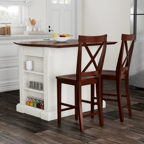 """Copper Grove Sumpter Drop Leaf Breakfast Bar Top Kitchen Island in White Finish with 24"""" Cherry X-Back Stools - N/A"""