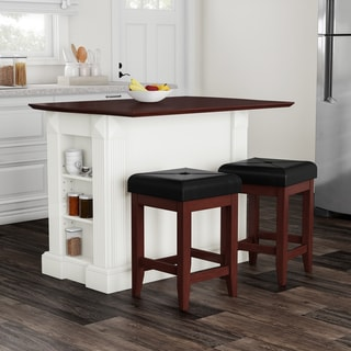 Copper Grove Filbert White Drop Leaf Kitchen Island with 24-inch Cherry Upholstered Square Stools - N/A