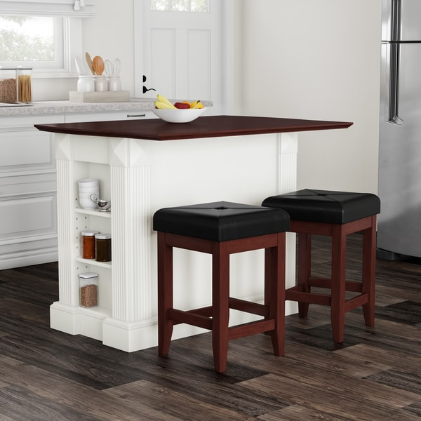 24 Kitchen Island: Shop Copper Grove Filbert White Drop Leaf Kitchen Island