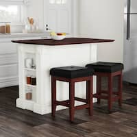 Havenside Home Milbridge White Drop Leaf Kitchen Island with 24-inch Cherry Upholstered Square Stools