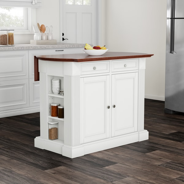 Havenside Home Milbridge White Drop Leaf Breakfast Bar Kitchen Island