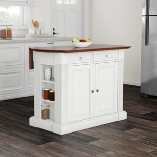 Copper Grove Filbert White Drop Leaf Breakfast Bar Kitchen Island