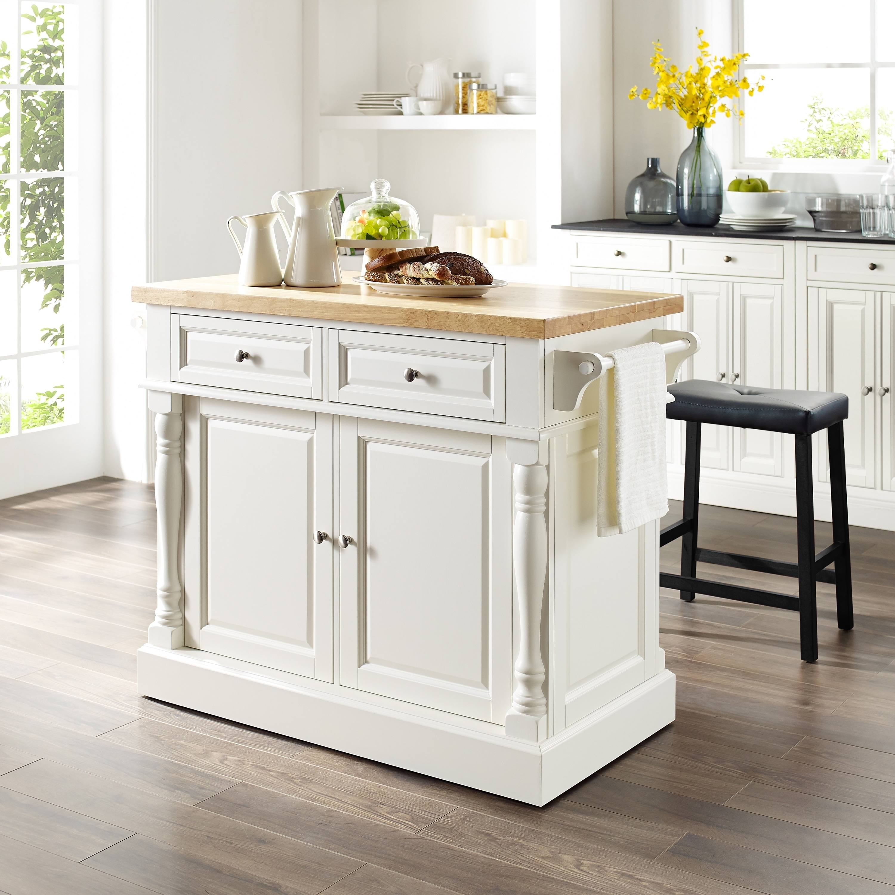 Copper Grove Kalesar Butcher Block Top White Kitchen Island With 24 Inch Black Upholstered Saddle Stools