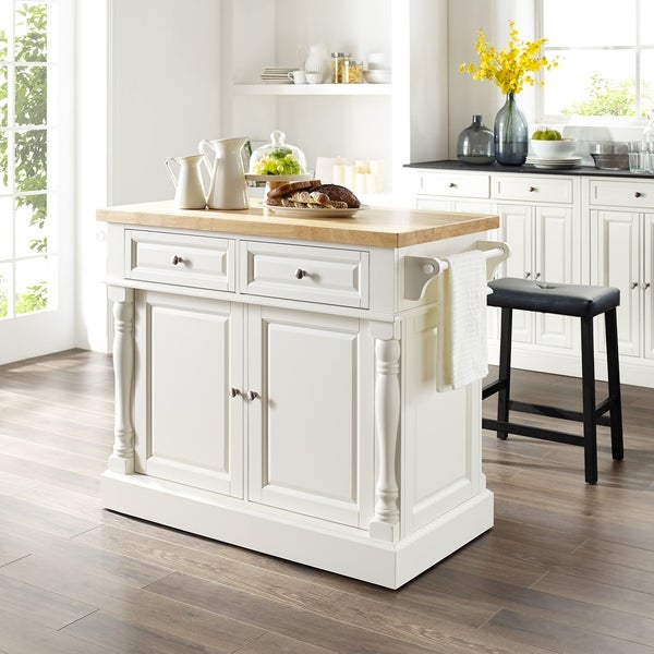 Copper Grove Kalesar Butcher Block Top White Kitchen Island with 24-inch Black Upholstered Saddle Stools