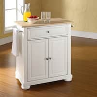 Copper Grove Sibbald Natural Wood Top Portable Kitchen Island in White Finish