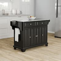 Strick & Bolton Monk Black Wood Stainless Steel Top Kitchen Island
