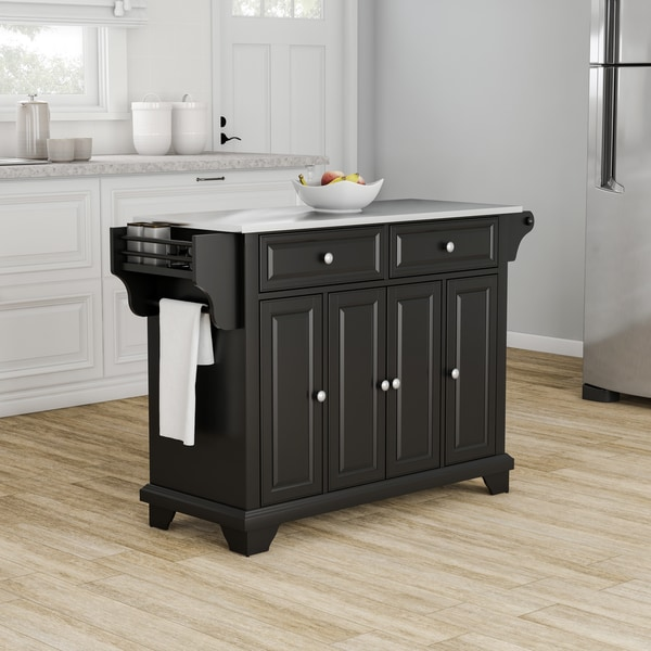 Shop Strick & Bolton Monk Black Wood Stainless Steel Top