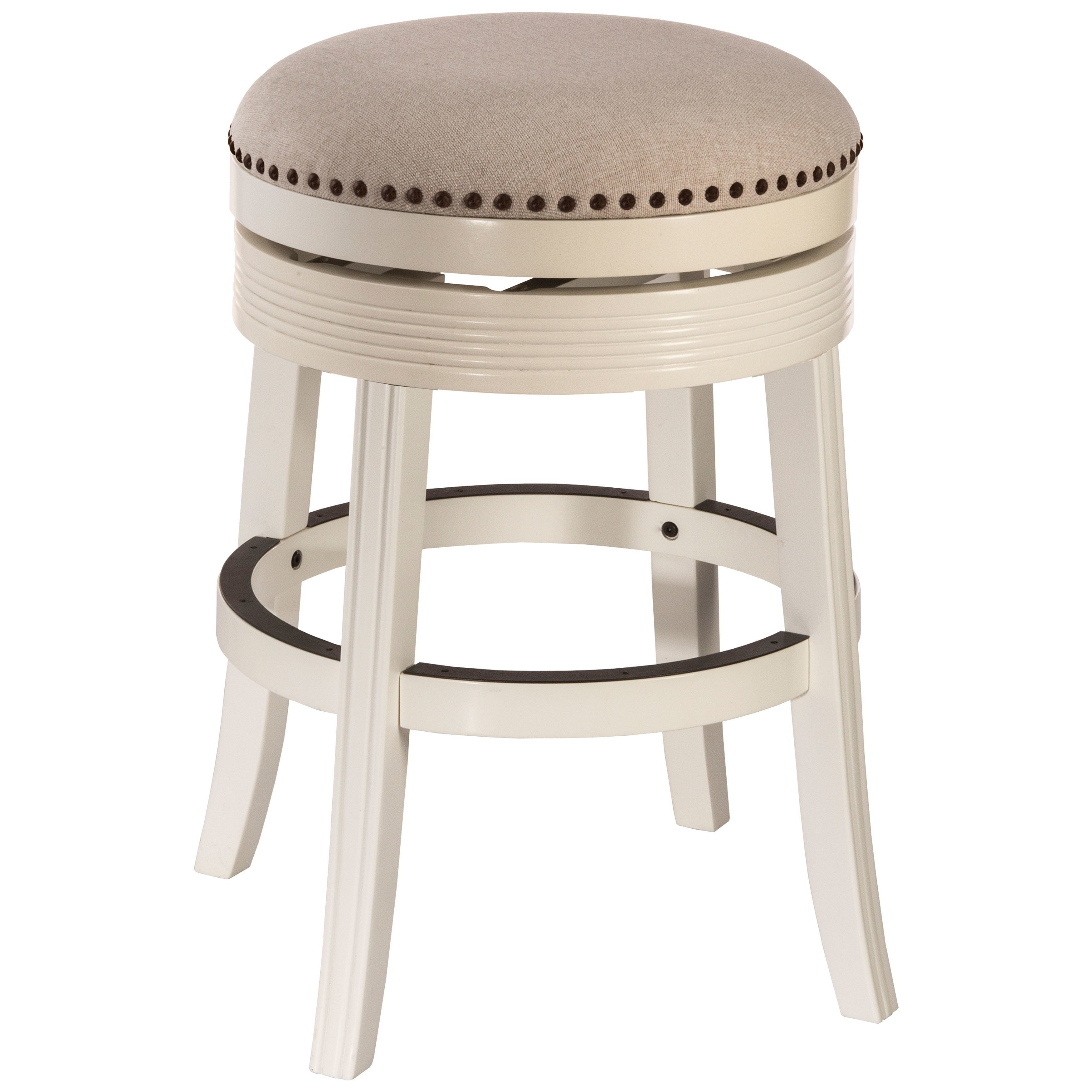 Miraculous Copper Grove Curlew White Wood Backless Swivel Counter Stool Ncnpc Chair Design For Home Ncnpcorg
