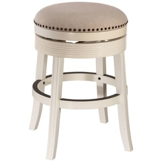 Copper Grove Curlew White Wood Backless Swivel Counter Stool