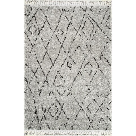Carson Carrington Vanlose Abstract Moroccan Diamond Tassel Shag Rug