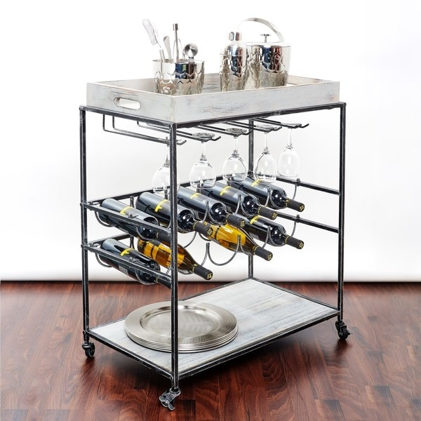 Strick & Bolton Riza Grey Wine Serving Cart
