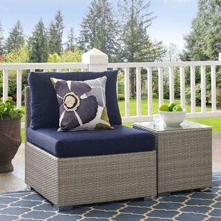 Havenside Home Bocabec Trendy Outdoor Patio Armchair (light gray navy)