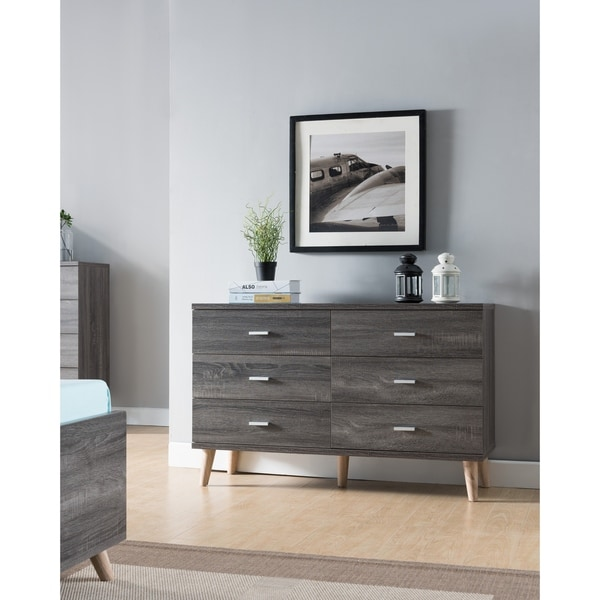 Carson Carrington Gjovik Contemporary Distressed Grey 6-drawer Dresser