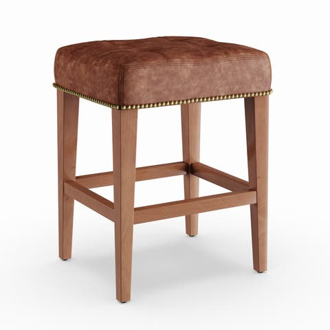 Copper Grove Hibiscus 24-inch Vintage Leather Low Counter Stool