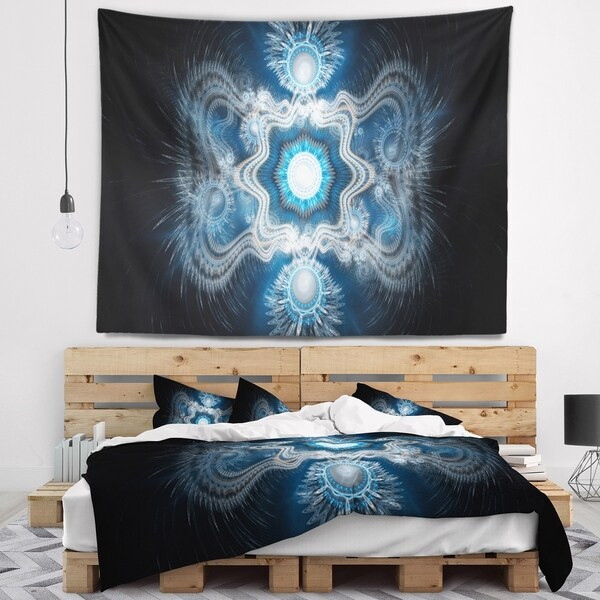 Designart 'Cabalistic Clear Blue Texture' Abstract Wall Tapestry