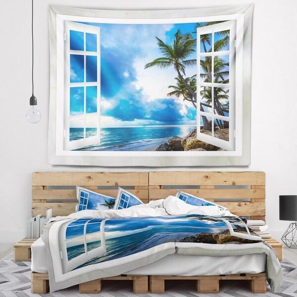 Designart 'Window Open to Cloudy Blue Sky' Landscape Wall Wall Tapestry
