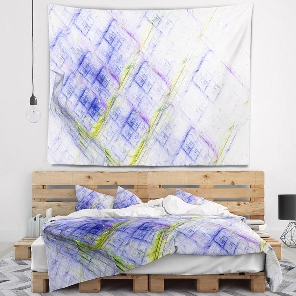 Designart 'Light Blue Fractal Grill' Abstract Wall Tapestry
