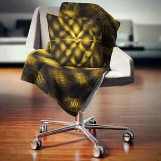 Designart 'Golden Fractal Watercolor Pattern' Abstract Throw Blanket (2 options available)