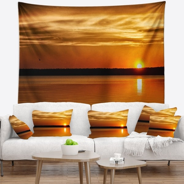 Designart 'Day and Night Seascape Panorama' Modern Seashore Wall Tapestry