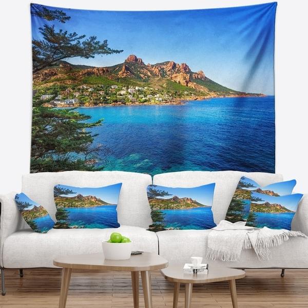 Designart 'Esterel Rocks Beach Coast in Blue' Seashore Wall Tapestry