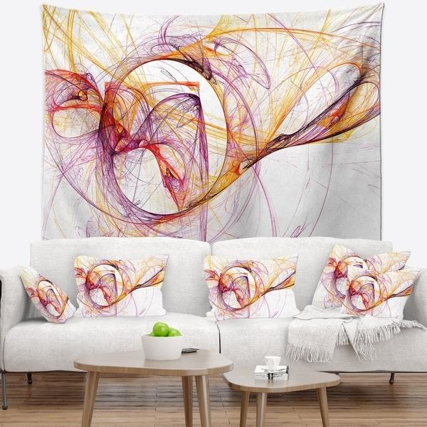 Designart 'Wisps of Smoke Orange Purple' Abstract Wall Tapestry