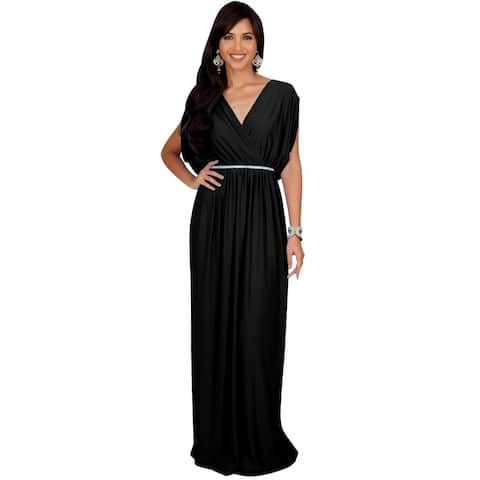 KOH KOH Womens Elegant Long V Neck Bridesmaid Flowy Maxi dresses