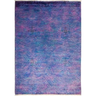 Contemporary Colorful One-of-a-Kind Hand-Knotted Area Rug - 4 x 6