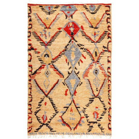 Bohemian Shaggy Moroccan One-of-a-Kind Hand-Knotted Area Rug - Ivory - 5 x 8