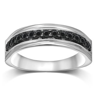 Unending Love Men's Sterling Silver 1/2 ctw Black Diamond Milgrain Band