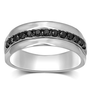 Unending Love Men's Sterling Silver 1/2 ctw Black Diamond Wedding Band