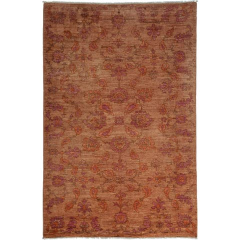 "Oushak, One-of-a-Kind Hand-Knotted Area Rug - Beige, 5' 6"" x 8' 1"" - 5 x 8"