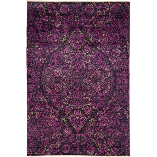 Suzani Purple Area Rug 6 X 8 10