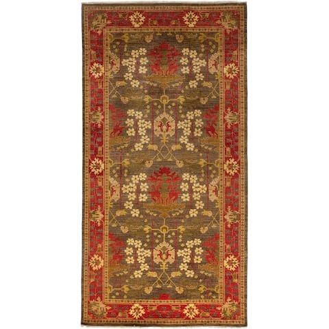 Contemporary Patterned & Floral One-of-a-Kind Hand-Knotted Area Rug - 8 x 10