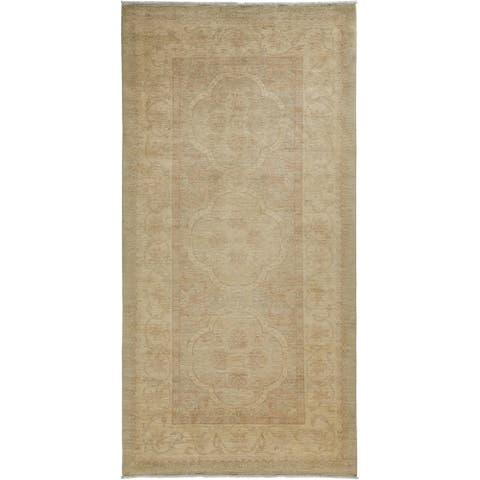 """Oriental Silky Oushak, One-of-a-Kind Hand-Knotted Area Rug - Beige, 5' 3"""" x 10' 5"""" - 6 x 9"""