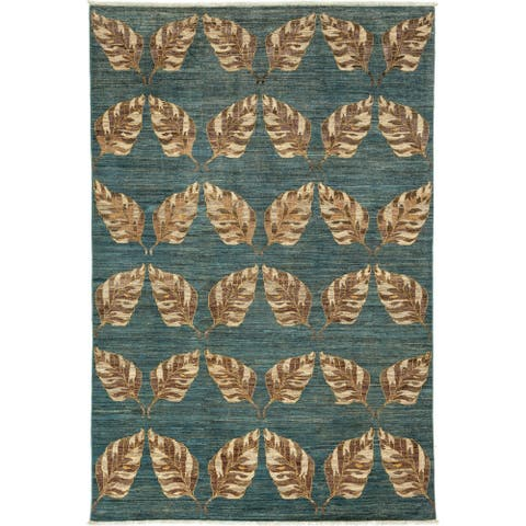 """Patterned & Floral, One-of-a-Kind Hand-Knotted Area Rug - Blue, 6' 5"""" x 9' 9"""" - 6 x 9"""