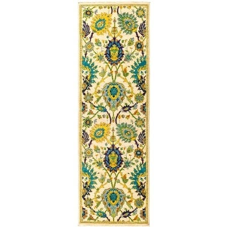 Contemporary Patterned & Floral One-of-a-Kind Hand-Knotted Runner Area Rug - 2 x 8