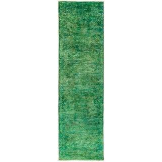 """Vibrance Overdyed Green Runner Rug - 3' 2"""" x 11' 2"""""""