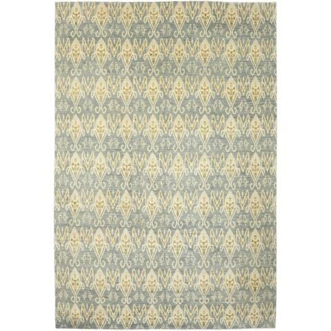 "Oriental Ikat, One-of-a-Kind Handmade Area Rug - Gray, 12' 1"" x 18' 0"" - Grey - 12 x 18"