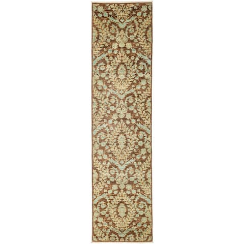 "Patterned & Floral, One-of-a-Kind Hand-Knotted Runner - Brown, 2' 5"" x 9' 7"" - 2 x 9"