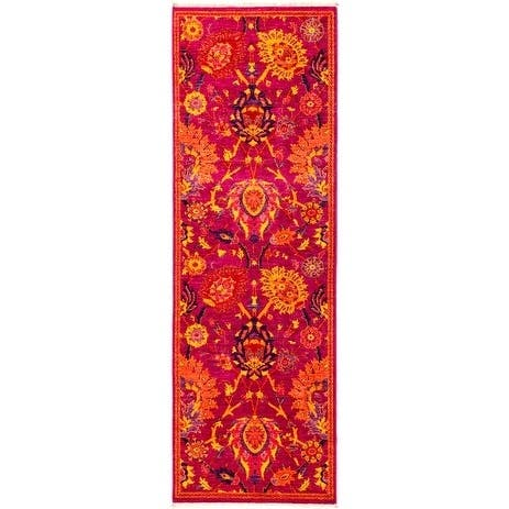 """Patterned & Floral, One-of-a-Kind Hand-Knotted Runner - Pink, 2' 8"""" x 7' 10"""" - 2 x 8"""