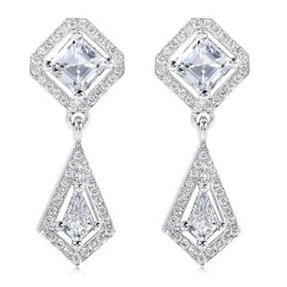Annello 18k White Gold Asscher Cut Diamond Drop Earrings